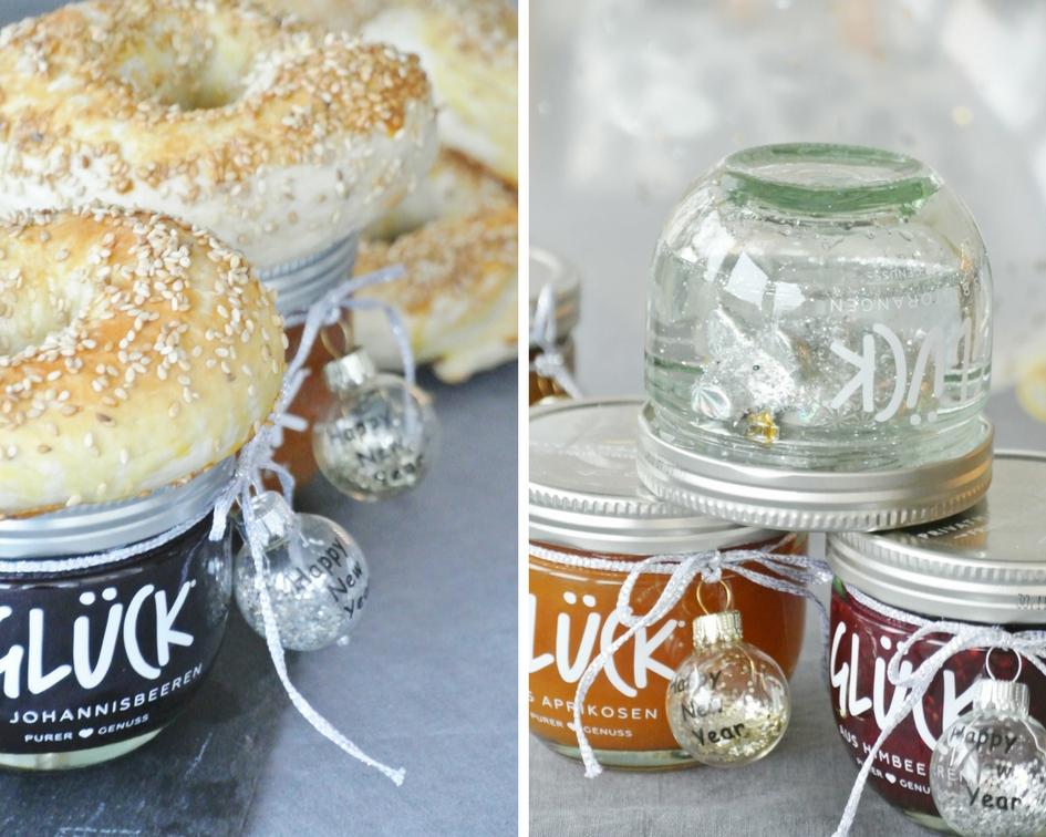 Glück-Marmelade-Bagel-Schneekugel