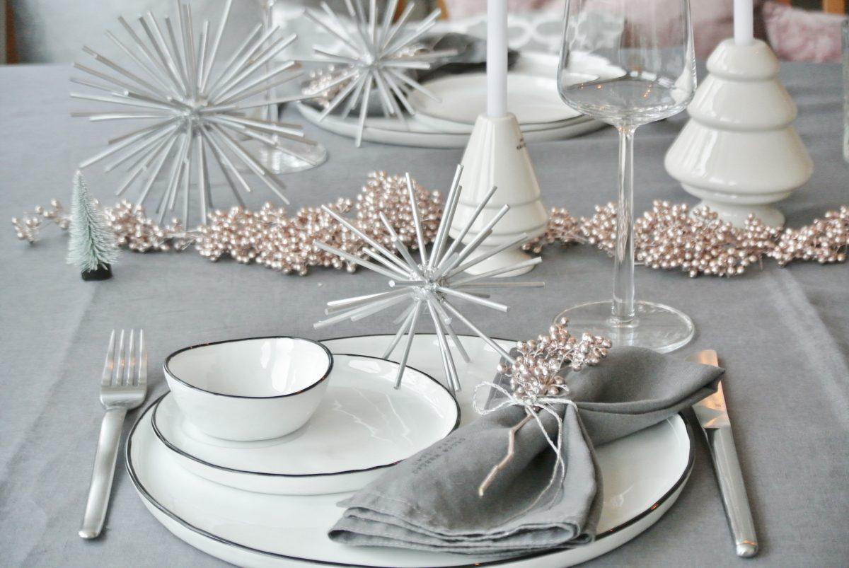 Zweimal tischdeko weihnachten diy stern - Tischdeko silber ...