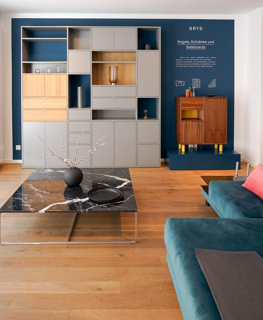 MYCS Regal GRYD / Beistelltisch SYDE / Marmortisch / Modulare Möbel / individuelle Designmöbel / Möbel nach Maß / MYCS Showroom München