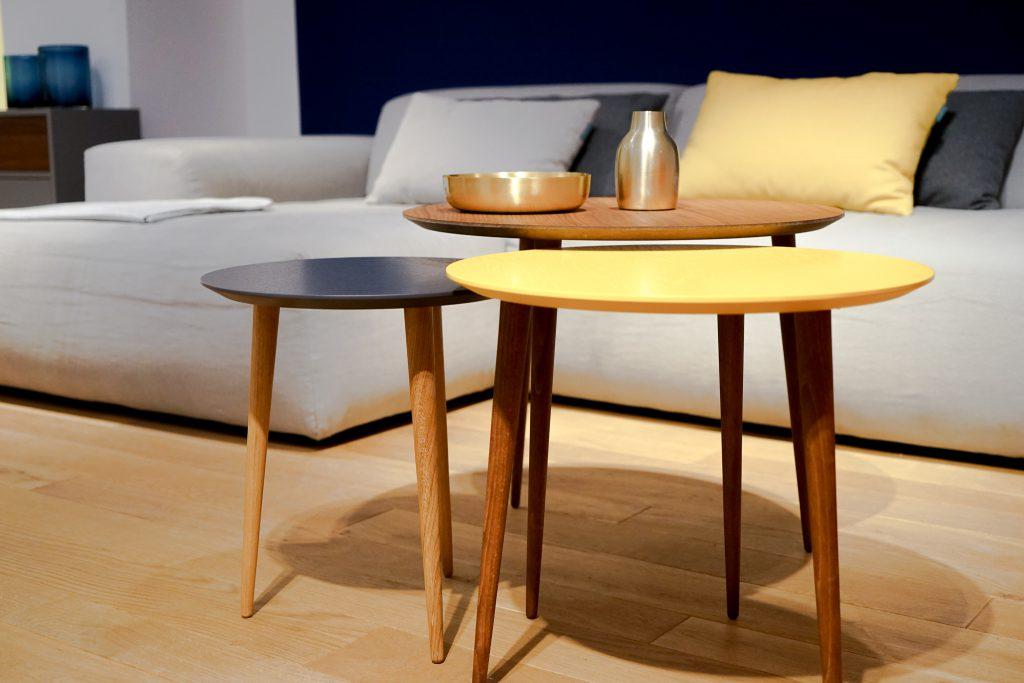 MYCS Beistelltischchen ECLYPSE / gelbes Lacktischchen / ovale Beistelltische / modular Möbel / individuelle Designmöbel / Möbel nach Maß / MYCS Showroom München