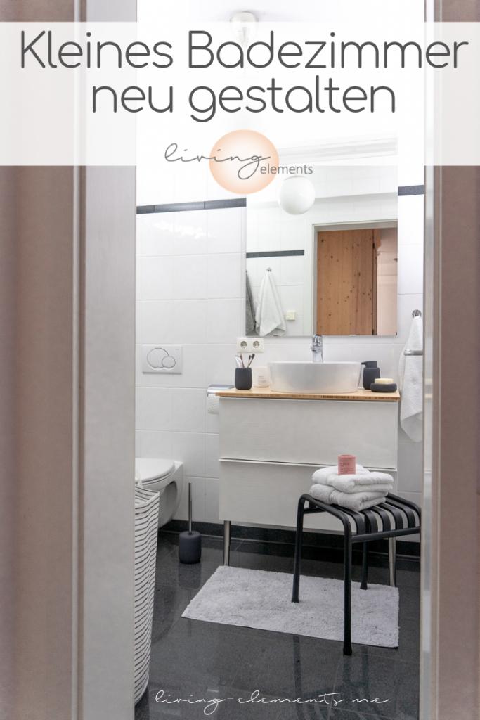 Pinterestgrafik für Blogpost kleines Badezimmer neu gestalten Badunterschrank Godmorgon von Ikea und Hocker von Hay mit Badutensilien von Blomus