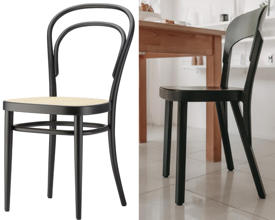 Thonet Stuhl 214 und 107 im Vergleich