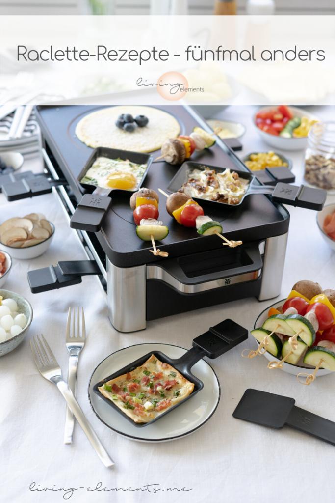 Raclette-gedeckter-Tisch-Zutaten-Crepes-Flammkuchen-Gemuesespiesschen-Spiegelei-Birne-mit Camembert-ueberbacken-Kartoffeln-Pinterest